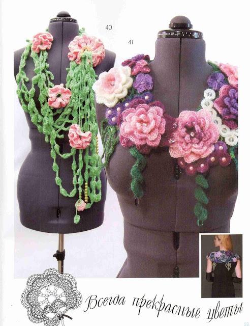 Patron #1421: Cuellos a Crochet
