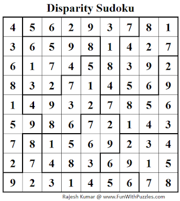 Disparity Sudoku (Daily Sudoku League #103) Solution