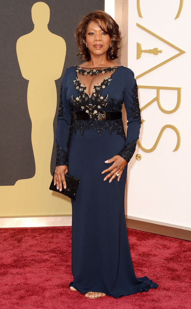 Alfre Woodard in a midnight blue Badgley Mischka gown at the Oscars 2014