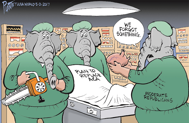 Republican Elephants as doctor gathered around a surgical patient labeled