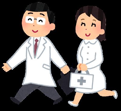 訪問診療のイラスト「お医者さんと看護婦さん」キャップなし