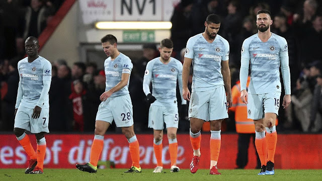 Hopeless Chelsea players during 4-0 loss at Bournemouth in the Premier League