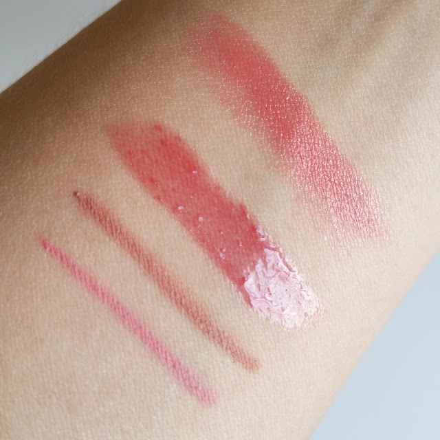 Essence lipstick, xxxl lipgloss and lip liner swatch