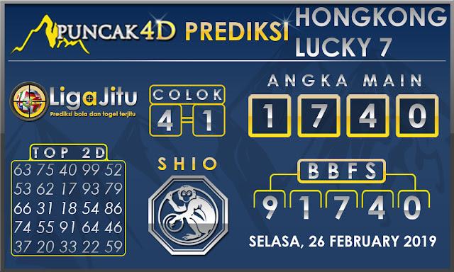 Prediksi Togel HONGKONG LUCKY7 PUNCAK4D 26 FEBRUARY 2019
