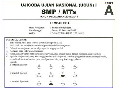 ini merupakan file terbaru yang berisi contoh soal latihan Ujian Nasional  Soal Try Out (TO) UN/UNBK SMP/MTS Bahasa Indonesia 2017/2018