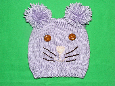 caciulita copii cu model pisica tricotata cusuta manual