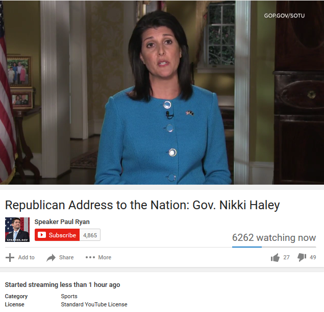 Republican Address to the Nation Nikki Haley YouTube category sports