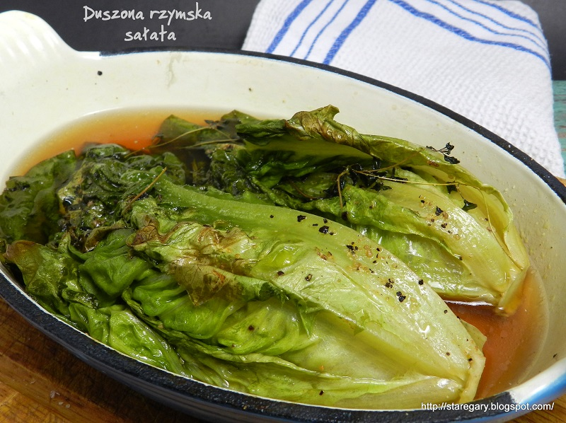 Duszona rzymska sałata