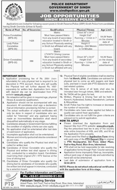 PTS Police Jobs in Sindh Police Jobs 2018