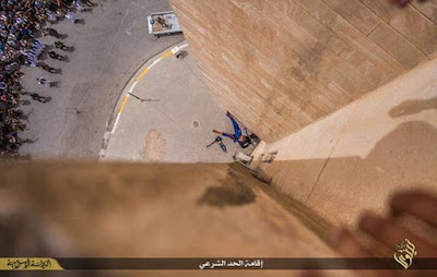 A gay man was thrown off a building top by ISIS militants in Mosoul, Iraq in May 2015 (file photo)
