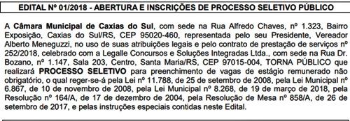 Processo Seletivo Câmara de Caxias do Sul 2018 Estágio