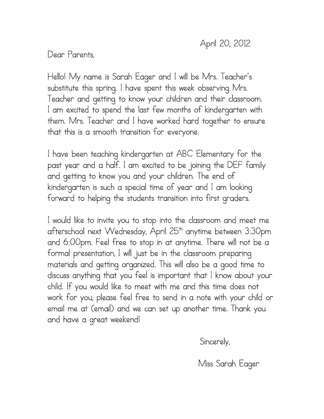 Sample Reference Letter For Preschool Teacher From Parent