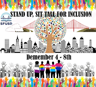 Stand up, sit tall for inclusion, Dec. 4-8 in front of tree with multicolored hands as leaves in front of San Francisco skyline and the Golden Gate Bridge with the silhouettes of people wearing shirts with the colors of the asexual pride, gay pride, lesbian pride, pansexual pride, and bisexual pride flags.