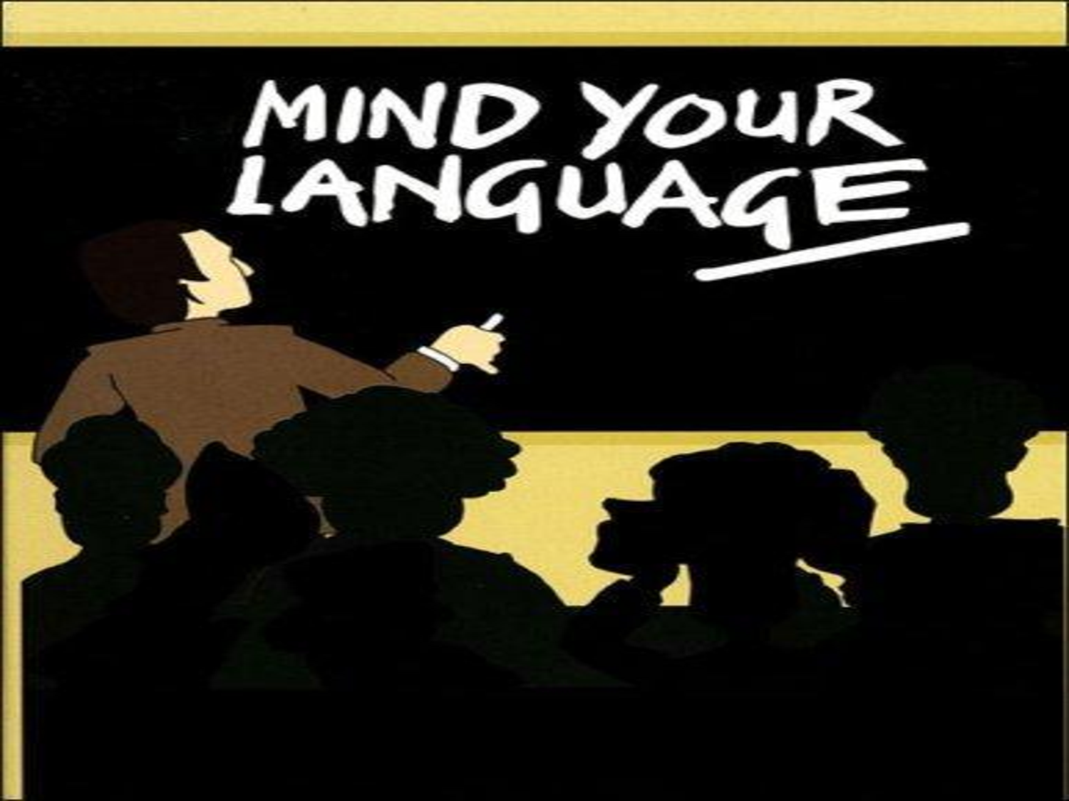 A still of the cartoon introduction sequence of Mind Your Language