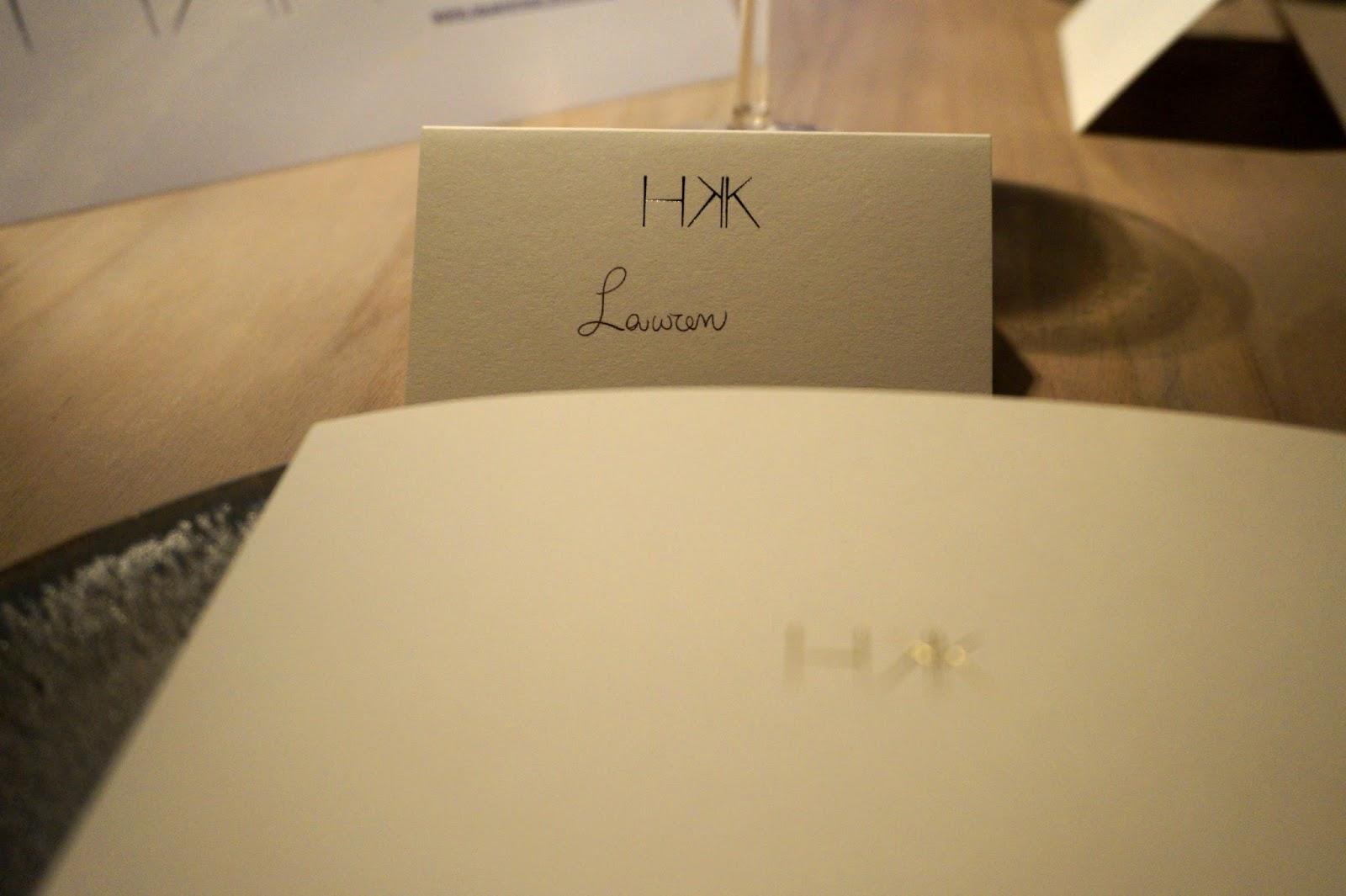 HKK tasting menu
