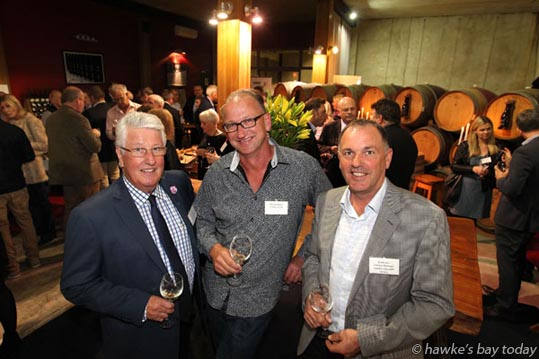 L-R: Max Morton, chairman, Hawke's Bay A&P Bayleys Wine Awards committee; Warren Gibson, the new chairman of the judges; Brent Linn, general manager, Hawke's Bay A&P Society at the official launch of the Hawke's Bay A&P Bayleys Wine Awards, at Trinity Hill Winery, near Hastings. photograph