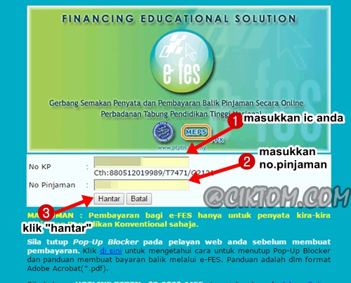Langkah 5: Masukkan No. Kad Pengenalan dan juga No. Pinjaman PTPTN