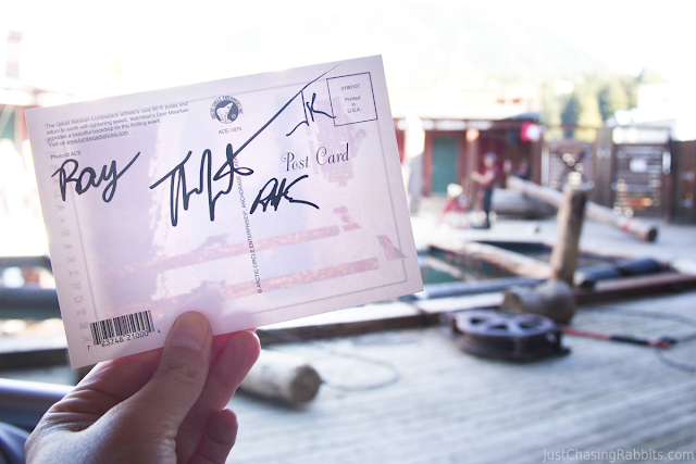 Signed postcard from the Great Alaskan Lumberjack Show
