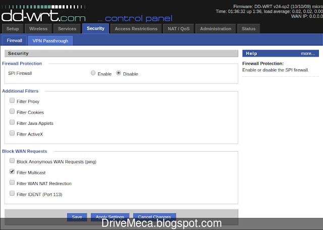 Modificamos el firewall de ddwrt