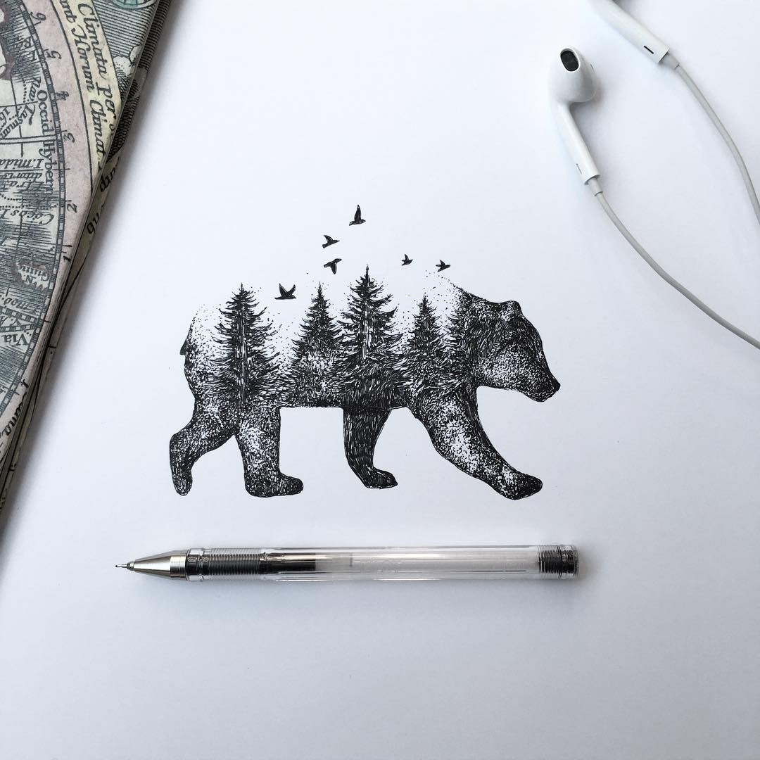 18-Wild-Bear-Alfred-Basha-The-World-of-the-Mind-Expressed-in-Drawings-www-designstack-co