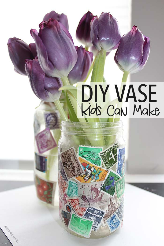 This unique DIY vase upcycles things you have at home for a gorgeous craft for kids! Makes a perfect Mother's Day gift too, or a great gift for someone who loves to travel. Love this idea!