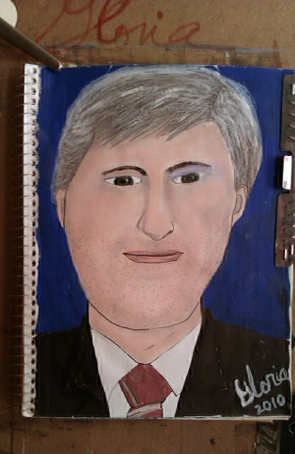 """Canadian Prime Minister Harper"" sketch by Gloria Poole; yr 20101 acrylics on paper"