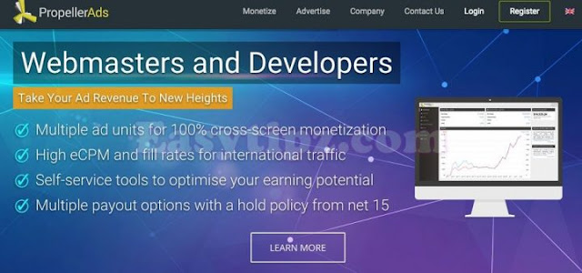 [Best CPM CPC Network] Earn $2000 per month with PropellerAds