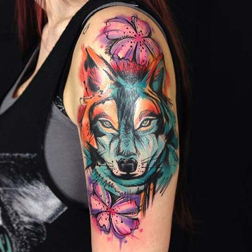 renkli kurt kadın kol dövmeleri watercolor wolf arm tattoo for woman