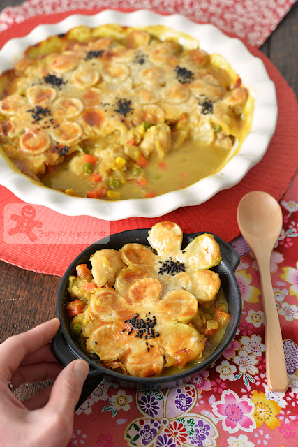 easy fuss free children friendly Japanese curry chicken pot pie