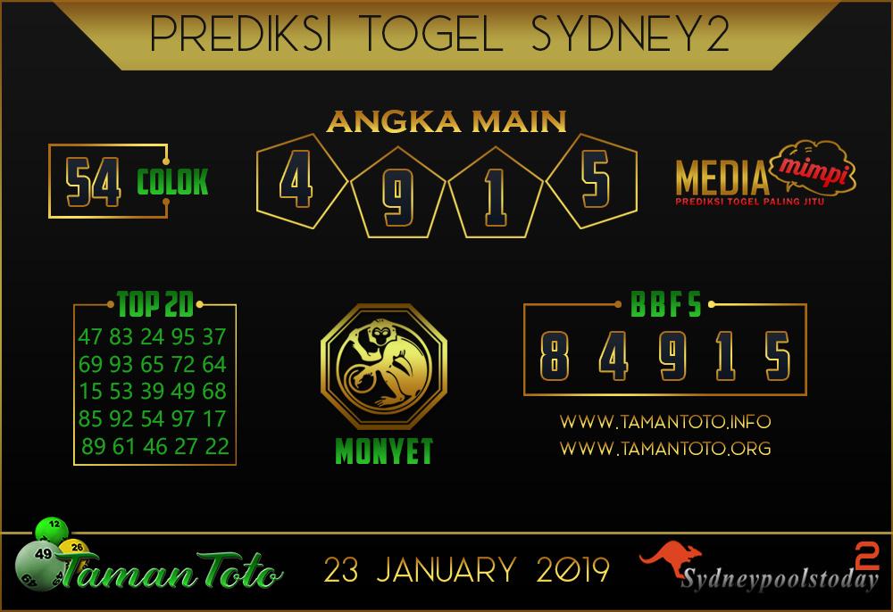 Prediksi Togel SYDNEY 2 TAMAN TOTO 23 JANUARI 2019