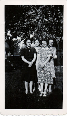 Climbing My Family Tree: My paternal grandfather's sisters and his mother, left to right: Hazel, his mother Myrtle (Wilcox), Lucille, and Irma, taken June 20, 1940.