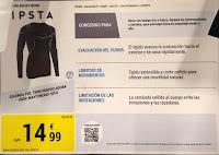 Camiseta térmica Kipsta Keepdry 500 cartel informativo tienda