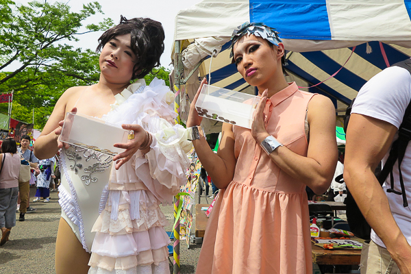Two drag queens collect money for charity at Tokyo Rainbow Pride 2016