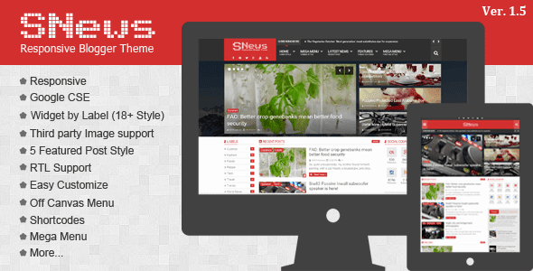 SNews v1.5 download - SNews v1.5 Blogger Template News