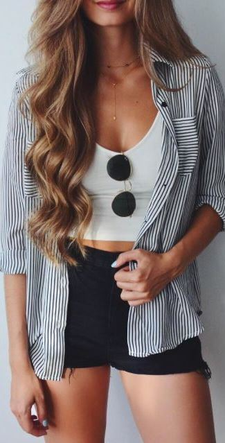 cute ootd: shirt + top + shorts + glass