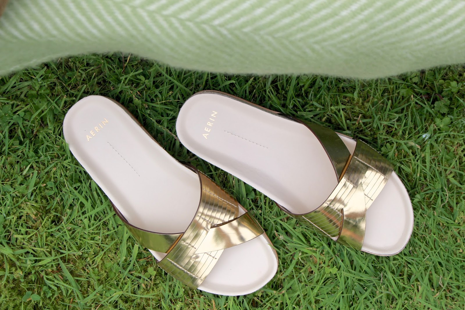 aerin gold slider sandals