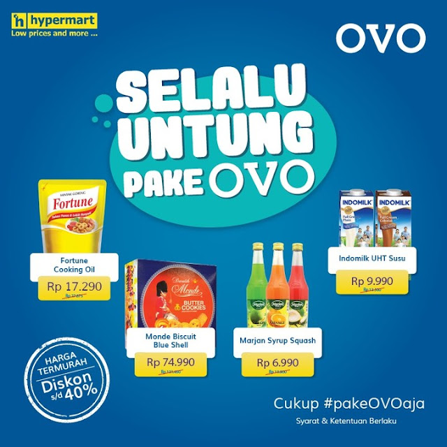 #Hypermart - #Promo Selalu Untung Pakai OVO Hemat Hingga 40% (s.d 02 Mei 2019)