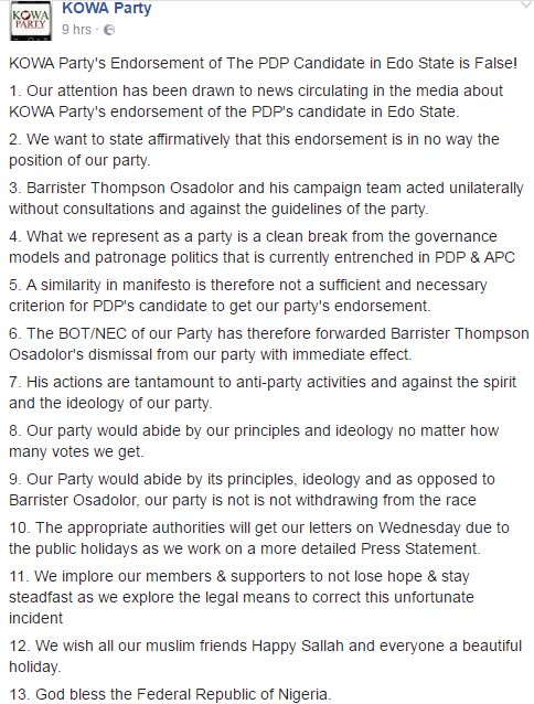 KOWA party denies supporting PDP candidate at Edo State elections