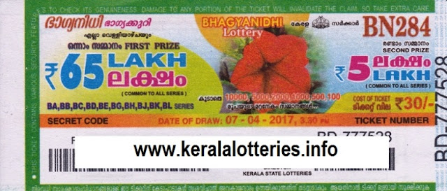 Kerala lottery result live of Bhagyanidhi (BN-74) on  01 March 2013