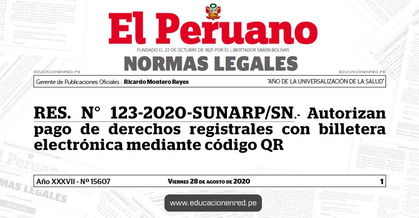 RES. N° 123-2020-SUNARP/SN.- Autorizan pago de derechos registrales con billetera electrónica mediante código QR