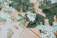 White flowers with green foliage lying on a wooden table.