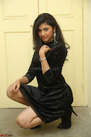 Mounika in a velvet short black dress for Tick Tack Movie Press Meet March 2017 063.JPG