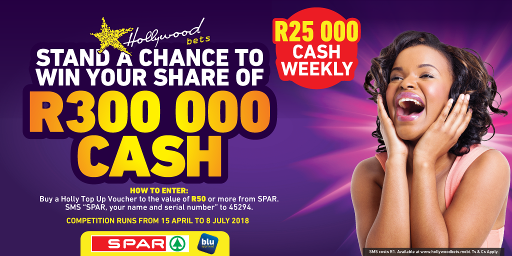 Spar Promotion - Win R300,000 in Cash with Hollywoodbets and Top Up Vouchers