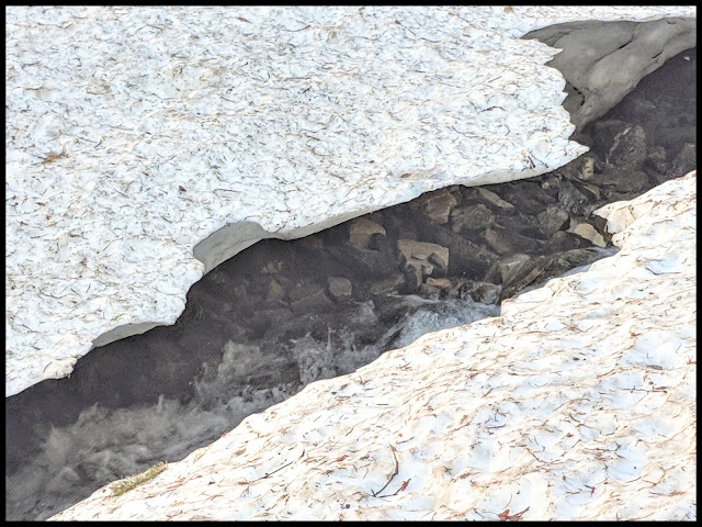 Cracks in the Glacier (Remnants of the Avalanche) in end of April with Stream underneath.