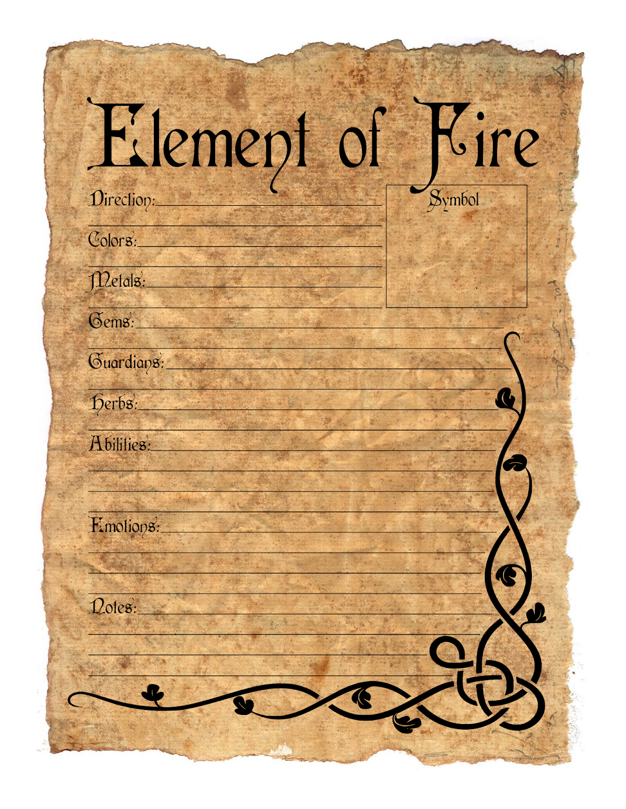 Build A Book Of Shadows Element Printable Pages