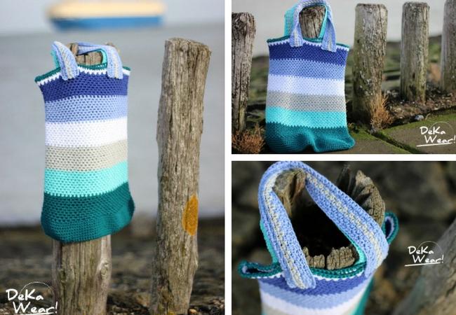 Crochet grocery bag, photos by DeKaWear | Happy in Red