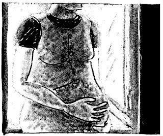 black and white image of a pregnant woman rubbing her belly.