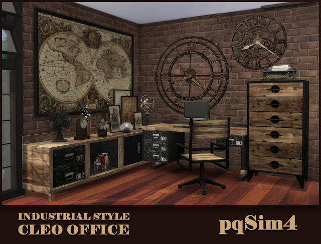 Sims 4 Industrial Style CC. Cleo Office.