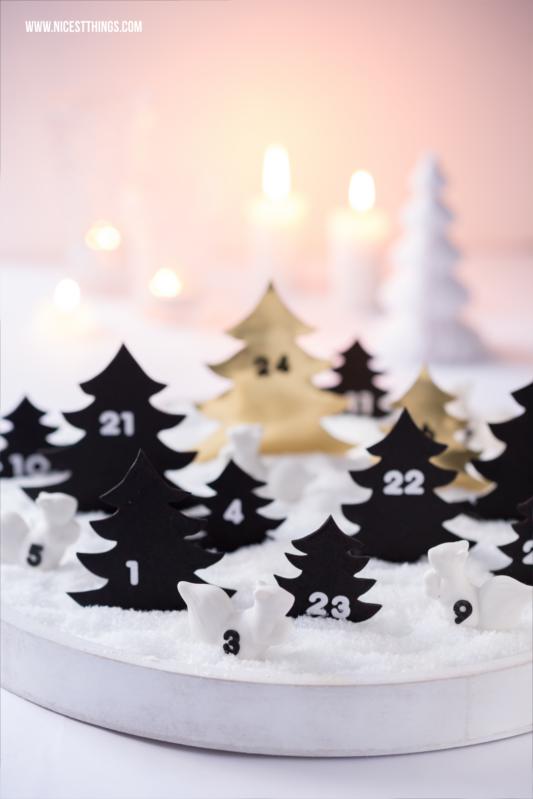 Adventskalender Schneelandschaft zum Buddeln mit Porzellanfiguren und Tannenbäumen selber machen