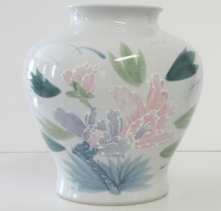 Porcelain Vase with Moriage Style Flowers made in japan